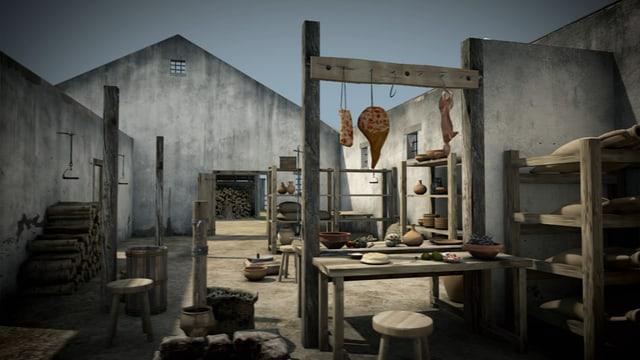 Animation des Innenraums des Streifenhauses mit Regalen, an denen Schinken hängen.