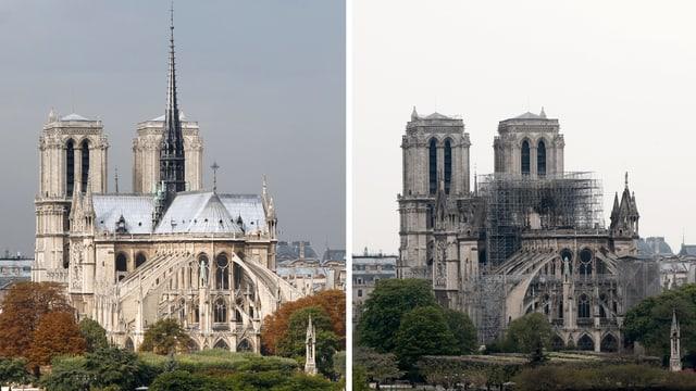 Notre-Dame vor dem Brand und nach dem Brand.