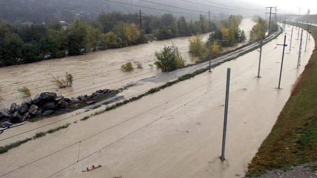 Braunes Wasser überschwemmt Eisenbahnstrecke.