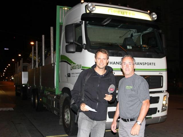 Unser Reporter Manuel Rothmund trifft LKW-Fahrer Ruedi Greuter um 5.30 in Winterthur.