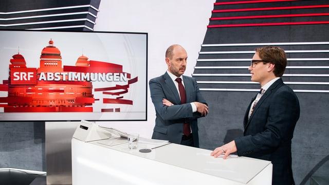 Urs Leuthard und Lukas Golder im Abstimmungsstudio