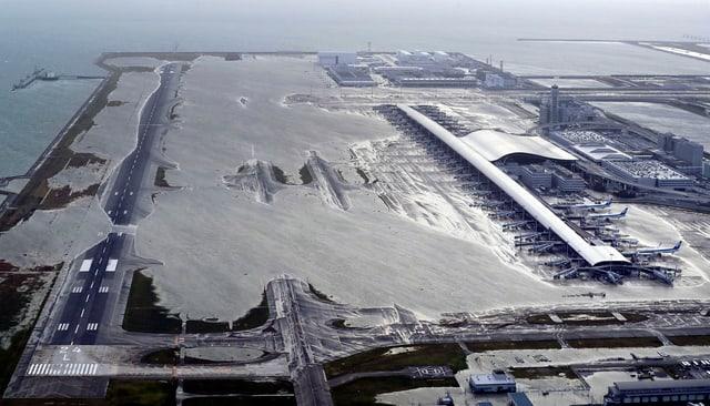 Ein Teil der künstlichen Insel wurde überflutet