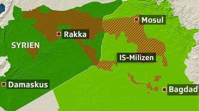 Karte des Nahen Ostens mit Gebiet unter der Herrschaft des IS.