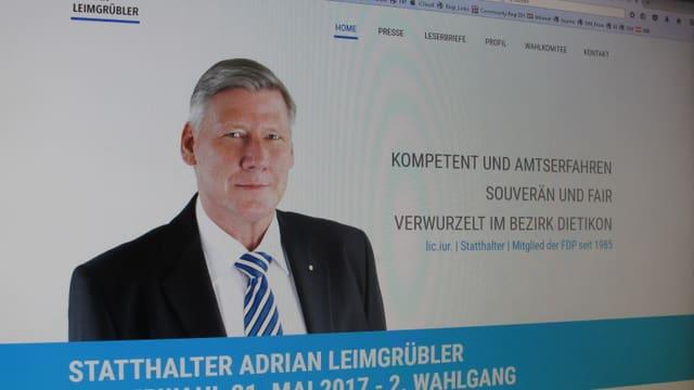 """Startseite der Webseite des Kandidaten Leimgrübler mit Portrait und Slogan """"Kompetent und Amtserfahren, souverän und fair""""."""