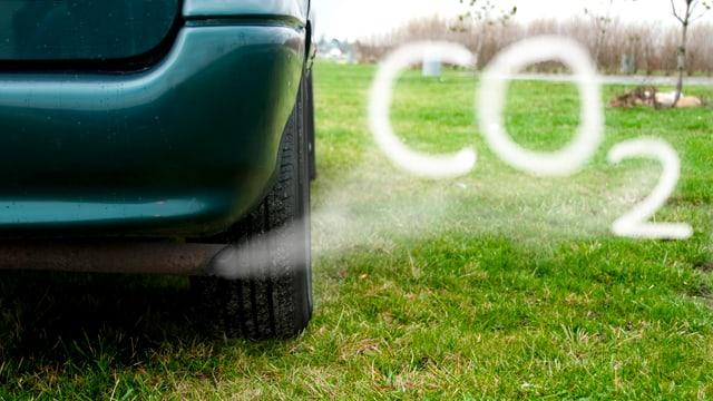 """Auto-Abgase aus dem Auspuff bilden die Schrift """"CO2"""""""