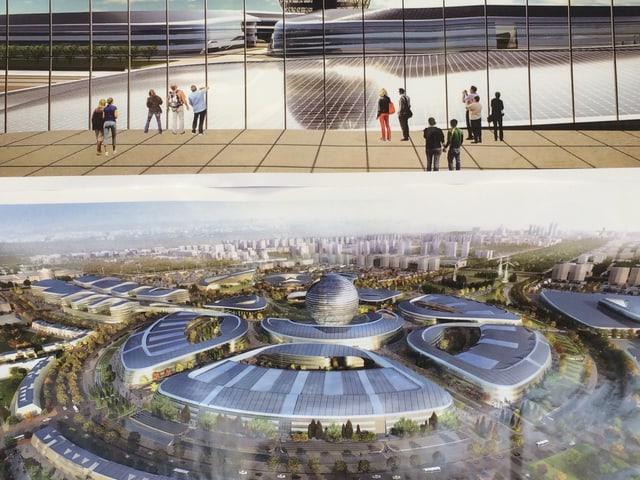Das Expo-Gelände in einem Modell