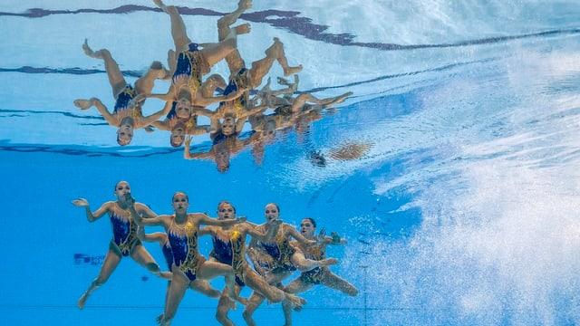 Die Schweizer Synchronschwimmerinnen in der Freien Kombination.