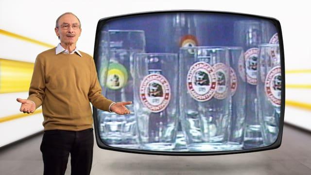 Urs P. Gasche, stehend von Bild aus Bier-Test von 1985