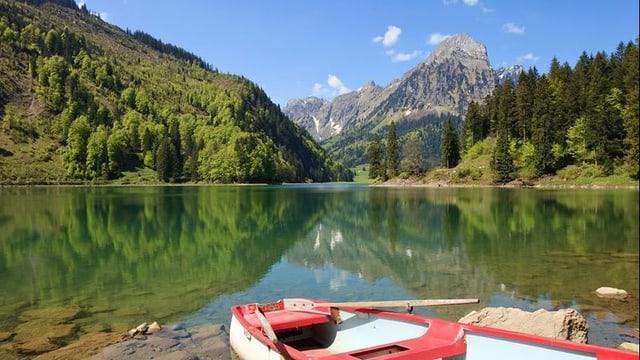 grünlicher See mit Bergen im Hintergrund