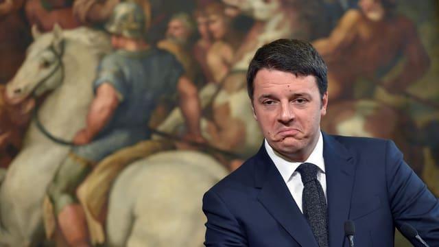 Matteo Renzi vor einem historischen Gemälde im Palazzo Chigi in Rom.