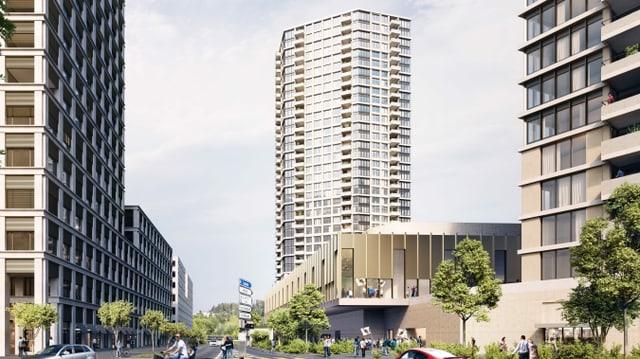 Visualisierung der Halle mit den beiden Hochhäusern.