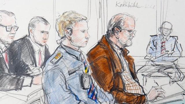 Zeichnung von Peter Hans Kneubühl im Gericht.
