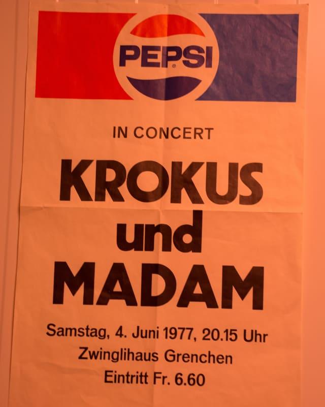 Flugblatt für ein Konzert von 1977