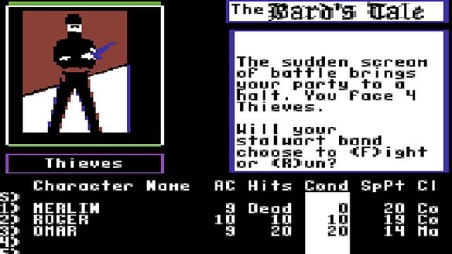 Ein Bildschirmfoto des Commodore-64-Games «The Bard's Tale (Volume I)»
