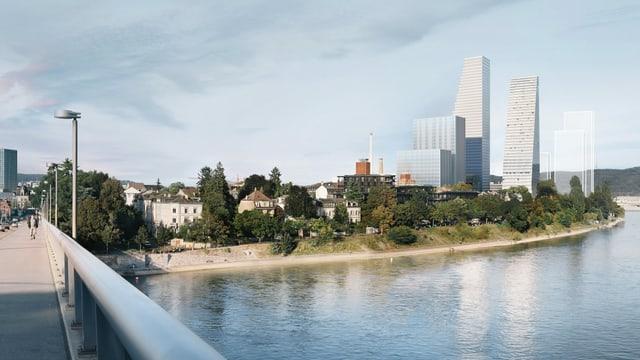 So sieht das Roche-Areal in Zukunft aus - von der Wettsteinbrücke aus.