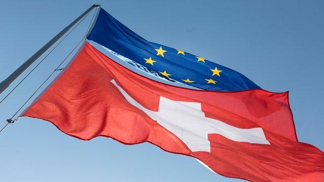 Symbolbild: Schweizer- und EU-Flagge im Wind.