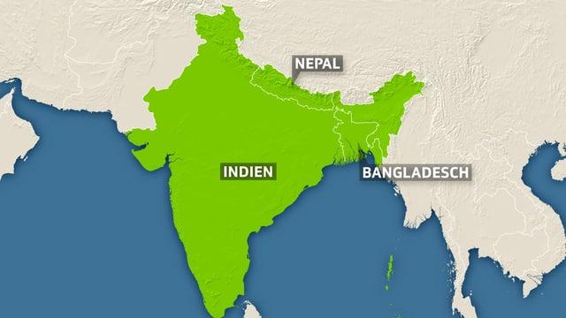 Nepal, Bangladesch und Indien