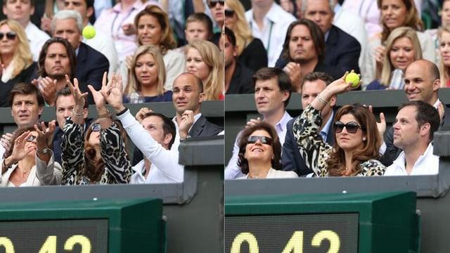 Mirka Federer schnappt sich den Tennisball.
