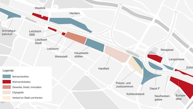 Plan der Bauten rund um den Bahnhof Zürich