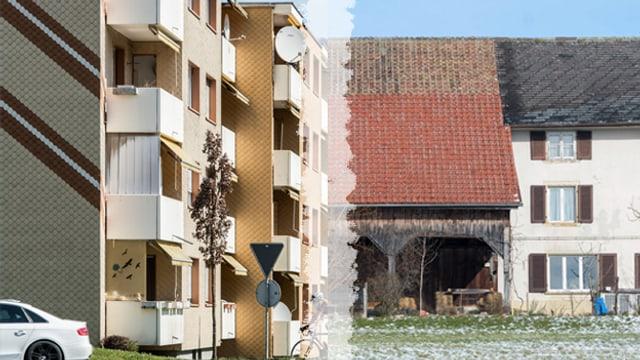 Wohnblock und Bauernhaus in einer Montage