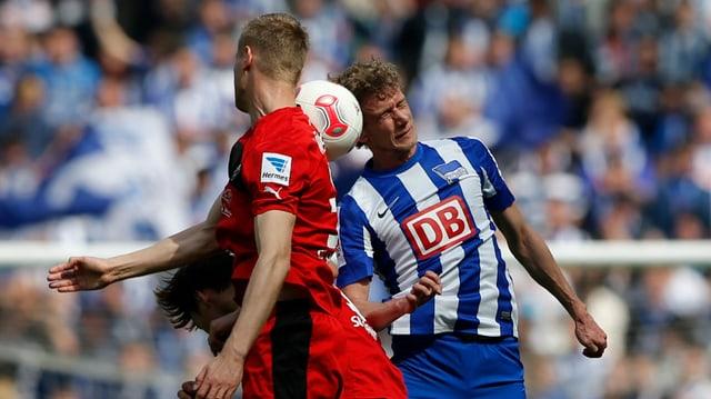 Der Schweizer Fabian Lustenberger (rechts) und die Hertha sind nach einem Jahr Unterbruch zurück in der 1. Bundesliga.