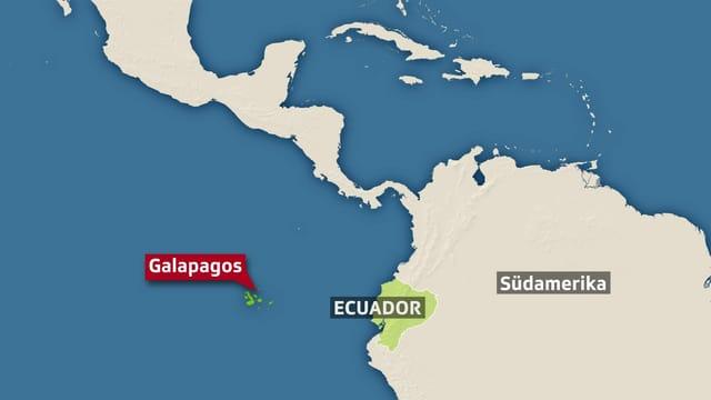 Eine Karte mit den Galapagos-Inseln