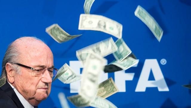 Sepp Blatter und der berüchtige Dollarschein-Regen.