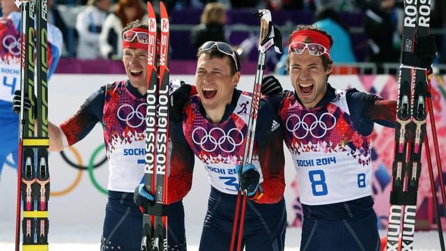 Die drei russischen Athleten jubeln in die Kamera