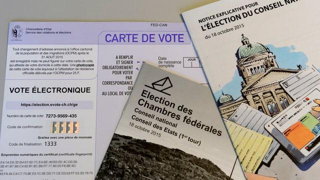 Unterlagen für die elektronische Abstimmung, wie sie in Genf durchgeführt wird.