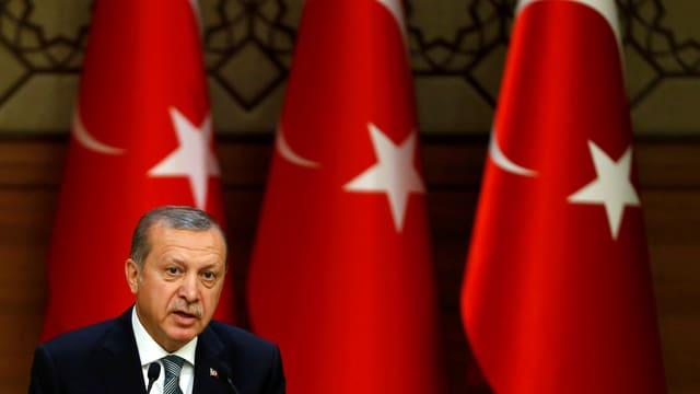 Präsident Recep Tayyip Erdogan während einer Rede im Präsidentenpalast in Ankara (Aufnahme von Mai 2016).