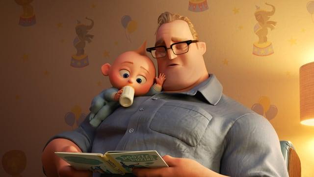 Papa Bob erzählt Baby Jack-Jack eine Gutenacht-Geschichte und schläft selber ein.