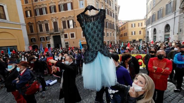 Proteste vor einem Regierungsgebäude in Rom