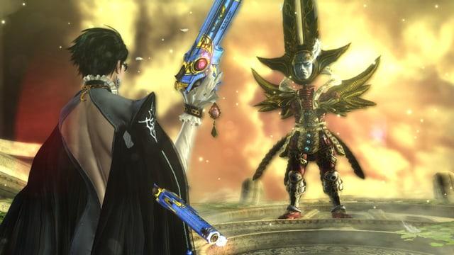 Umbra-Hexe vs. Cherubim. Beide unbeeindruckt, aber Bayonetta in besserer Pose.
