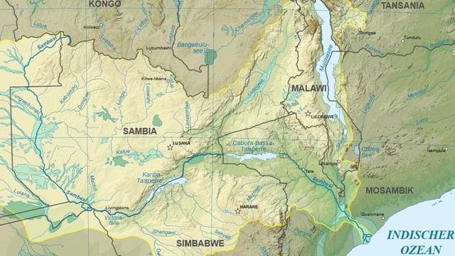 Karte des Flusses Sambesi vom indischen Ozean bis zur Demokratischen Republik Kongo.
