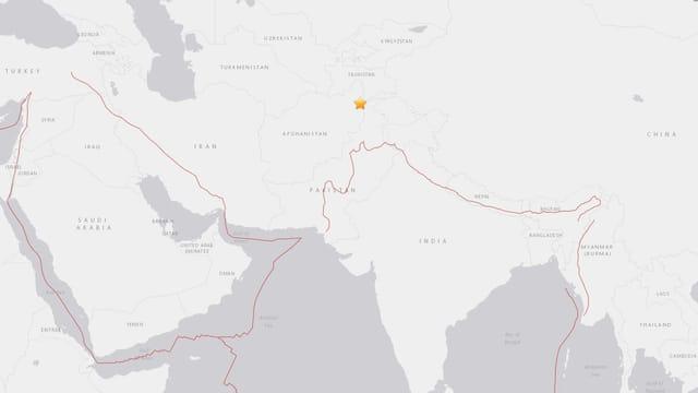 Charta cun l'epicenter dal terratrembel en il nordost da l'Afganistan.