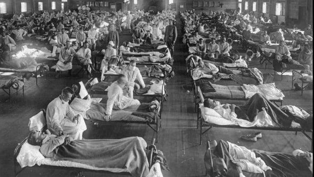 Ein Lager mit zahlreichen Betten für Kranke