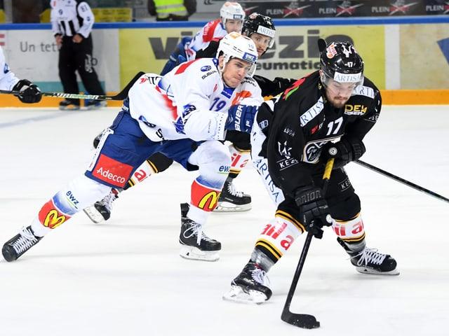 Für Lugano (mit Luca Fazzini, r.) und die ZSC Lions (mit Reto Schäppi) haben die beiden kommenden Spiele enorme Bedeutung.