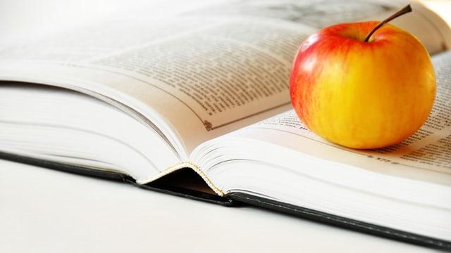 Ein Apfel liegt auf einem Buch