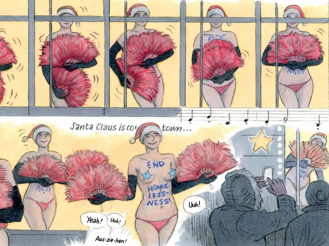 Comic-Strip mit zwei Bildern. 1: Tanzende, halbnakte Frauen nebeneinander in einem Schaufenster; 2: Tanzende Frau mit Aufschrift auf Körper: End: Homelessness.