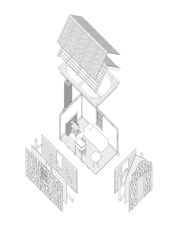 Architekturzeichnung eines sehr kleinen Häuschens.