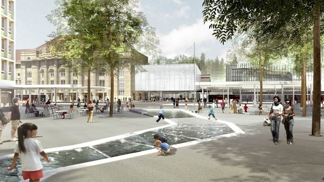 Der neue Bahnhofplatz mit künstlichem Wasserlauf auf dem Kornhausplatz.