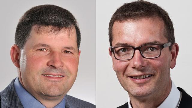 Links schaut Hans Jörg Rüegsegger in die Kamera, rechts Raphael Lanz.