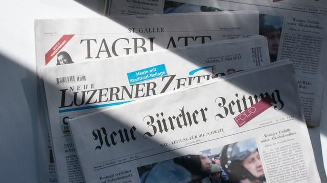 Die Zeitungen «Neue LZ», «NZZ» und «St. Galler Tagblatt»