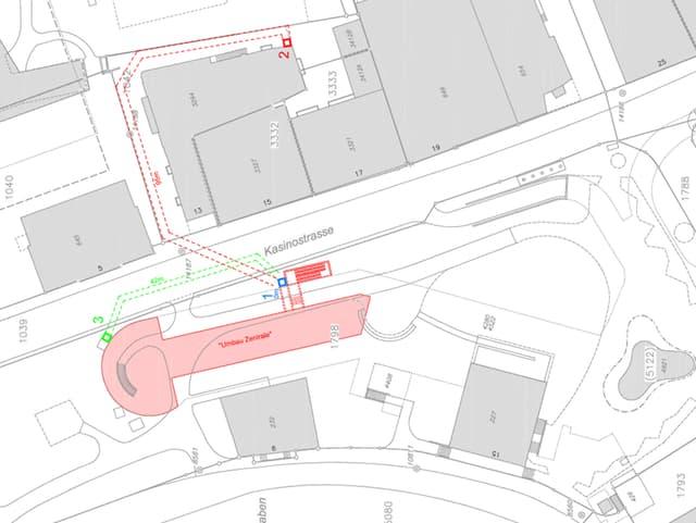 Plan der Wärmezentrale mit Kamin-Standorten