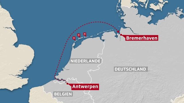 Kartenausschnitt, auf dem die Route des Containerschiffs eingezeichnet ist.