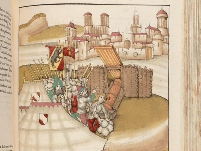 Zu sehen sind mehrere Männer und eine Kanone, die beladen wird. Dahinter ist Zofingen zu sehen.
