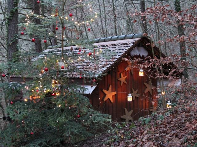 Geschmückte Hütte mit Geschmücktem Tannenbaum.