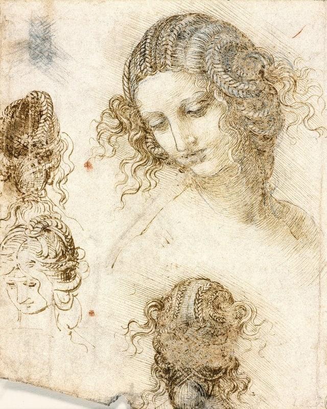da Vinci Skizzen: Porträt-Studien