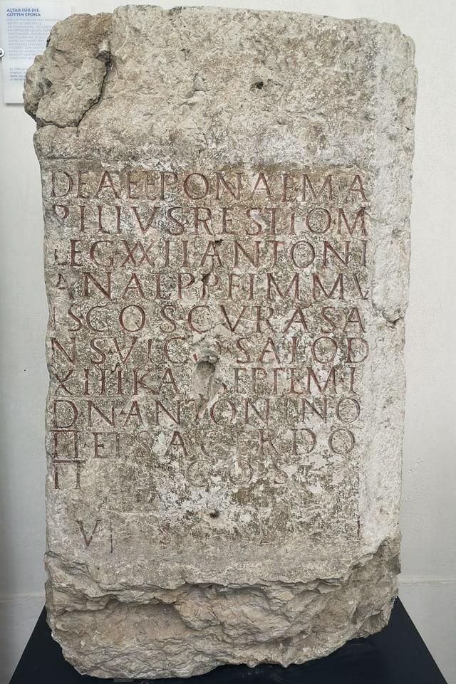 Stein mit lateinischer Inschrift.