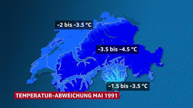Schweizkarte, Temperaturabweichung flächig farbig blau dargestellt,  für den sehr kühlen Mai 1991.